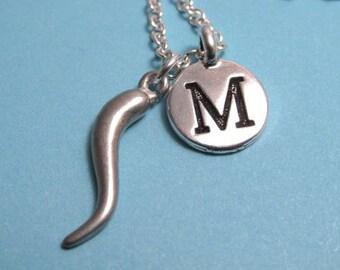 Italian Horn Necklace, Italian Horn Charm, Italian Horn Keychain, Charm, Silver Plated Charm, Engraved, Personalized, Monogram