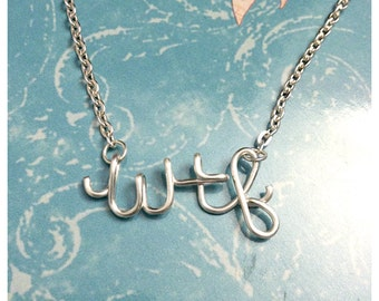 "Novelty ""Wtf"" Silver Plated Wire Script Necklace"