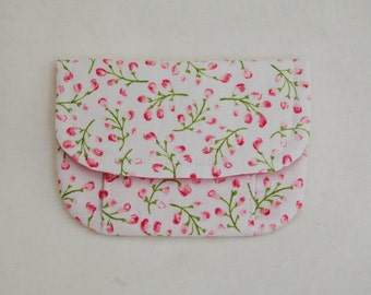 small floral blossom pouch . little girls accessories pouch . pink blossom with hot pink lining . LAST ONE