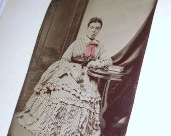 Artfully Composed Tinted Tintype Woman In Beautiful High Collared Striped Dress With Red Bow...FREE SHIPPING