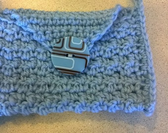Small Blue Crochet Purse with Stylish Button