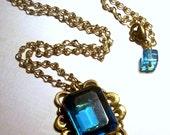 Vintage Blue Topaz Glass Pendant with Vintage Brass Chain