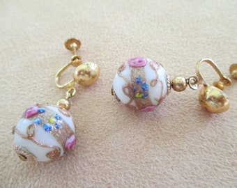 Vintage costume jewelry  /  dangle screw back earrings