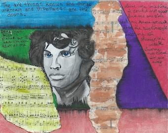 Jim Morrison mixed media piece acrylic sheet music painting art