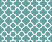 Teal Quatrefoil Fabric - Teal Quatre Foil by Riley Blake Designs - by the Yard - 1 Yard