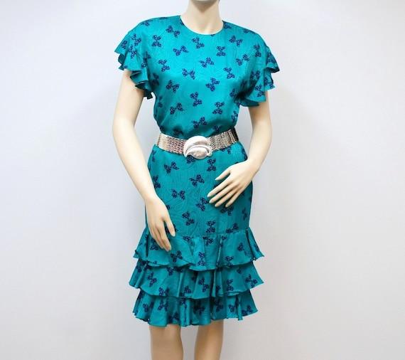 Dress Vintage Dress 1980s Silk Dress Adrianna Papell Turquoise Wiggle Dress Womens Dress Size 4 Wiggle Ruffle Dress