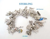FREE SHIP Sterling Silver Charm Bracelet - 40 Charms - Some Movable (4-4284)