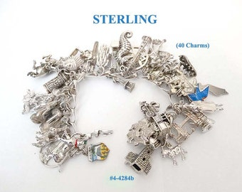 FREE SHIP Price Lowered Sterling Silver Charm Bracelet - 40 Charms - Some Movable (4-4284)
