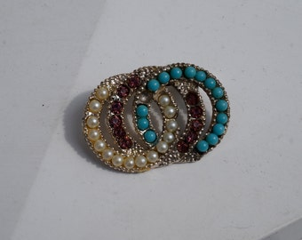 Vintage 1970's Triple Interlocked Circle Brooch in Red, White and Blue Beading
