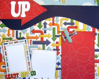 Scrapbooking Pages Airplane Vacation Boy Trip 2 Page Kit Premade Layout