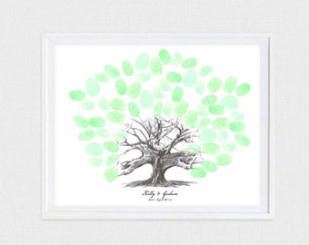 moreton bay fig tree fingerprint guest book - printable file - personalized wedding thumbprint baby shower tree illustration sketch drawing