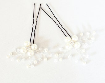 Set of 2 Ivory Pearl Wedding Hair Pins. Bridal Flower Hairpins. Bridal Hair Pins. Pearl Hair Pin. Wedding Hair Accessories.
