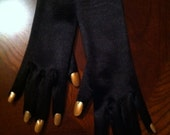 Purrrrfect CatVillain-style Black Gloves with Gold Nails by LauriJon™ Studio City