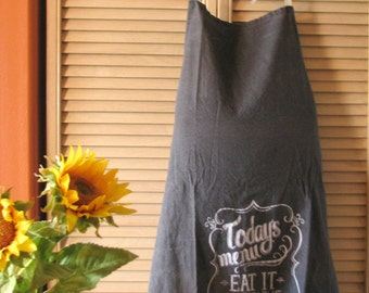 Upcycled Lily & Val Today's Menu Chalkboard Towel Adult Apron by Pomegranate Diva™ LauriJon™ Studio City