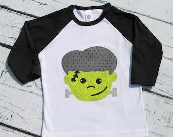Frankenstein appliqued shirt ... Boys HaLLoWeen shirt ...  18m 2 3 4 5 6 8 10