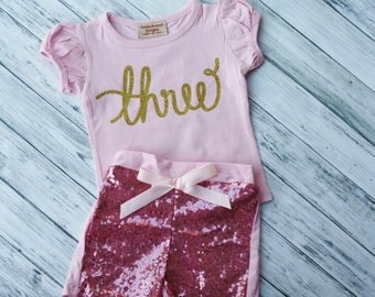 3rd Birthday Outfit- Baby Girls Birthday Clothes- Cake Smashing Outfit- ONE Gold Pink shirt and Sequin Shorts- Glitter Gold Birthday Shirt