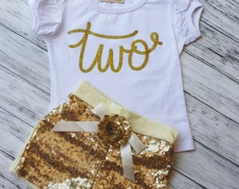 2nd Birthday Outfit- Baby Girls Birthday Clothes- Cake Smashing Outfit-ONE TWO ETC Gold shirt and Sequin Shorts- Glitter Gold Birthday Shirt
