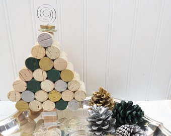 Wine Cork Mini Christmas Tree in Silver, Gold and Deep Green, Tabletop or Hangs!