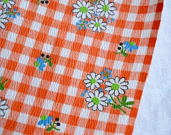 Vintage Fabric - Orange Gingham Check and Daisies - By the Yard