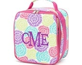 Monogrammed Pink Bloom Print Girls Insulated Lunch Bag Box Cooler Personalized