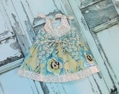 Amy Butler Gypsy Caravan Baby Big Bow Dress Ready to Ship Size 3-6 Months Handmade Shower Gift Infant Flower Damask