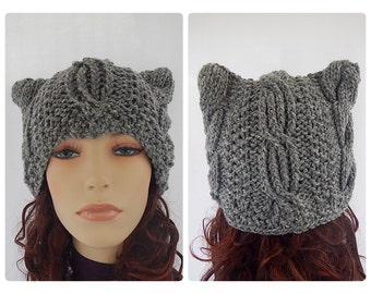 Hat with ears / knitted hat with ears/ Hand knitted beanie with ears / funky hat