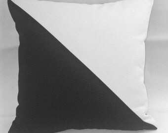 Pair (2) Black and white color block, pillow sham, pillow covers, cotton canvas diagonal