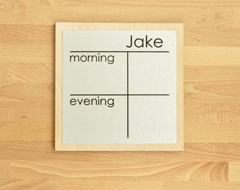 Morning/Evening Chore Chart - 9 x 9 magnetic, personalized chore board