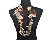 Reserved for Helen Louise ON SALE Croc Couture Multistrand Pearl Statement Necklace with Croc Leather and Embellishments