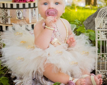 Cream Full Tutu w Flowers, Tulle princess, tie infant baby toddler Flower girl skirt boutique first birthday outfit photo prop Wedding Ivory