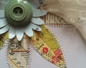 Vintage Map - London - Stitched Paper Art