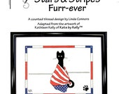 Stars Stripes Furr-ever Forever Black Cat Wrapped Red White Blue Flag Linda Connors Kathleen Kelly Counted Cross Stitch Craft Pattern Sheet