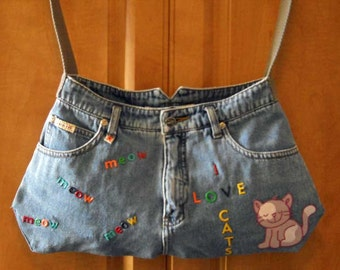 Denim Blue Jean Purse - I Love Cats Recycled Denim Purse Free Shipping