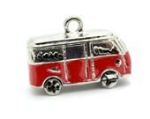 Red Camper Van Pendant,  1pc,  21x9x8mm,  Bus  Charm, Blue Enamel, Red Bus Charm - C559