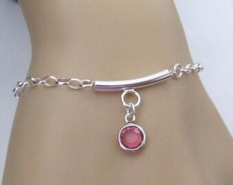 Birthstone Bracelet, Bar Bracelet, Sterling Silver, Jewelry, Friendship Bracelet, Gift