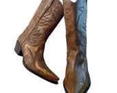 Reserved for Dawn only // Cowboy Boots Size 9 1/2 Women // Café Au Lait Brown Leather  Guess // Rockabilly Chic Wedding