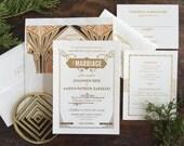 Gatsby Wedding Invitation, Letterpress Wedding Invitation, Art Deco Wedding Invitation, Art Nouveau Invitation, Gold Wedding Invitation
