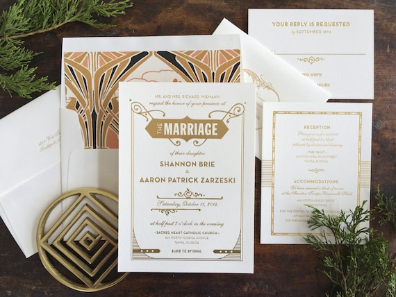 Gatsby Wedding Invitation, Letterpress Wedding Invitation, Art Deco Wedding Invitation, Art Nouveau Invitation, Gold Wedding Invitation