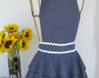 Diva Apron  - Navy with White polka dots Apron with rick rack trim.