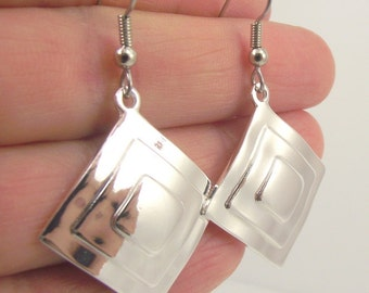 Shiny Silver Diamond Earrings, Diamond Silver Earrings, Geometric Earrings, Square Earrings