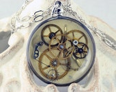 Steampunk Necklace OOAK with Silver Plated Pocket Watch Style Bezel