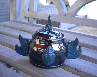 Blue Scarab Flaming Wing Lidded Pot