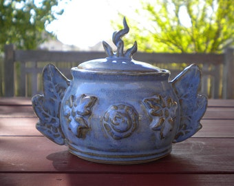 Powder Blue Flaming Winged Lidded Pot