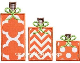 814 Square Pumpkin Trio Machine Embroidery Applique Design