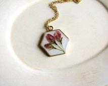 Hexagonal Flower Pendant Necklace, Geometry Necklace, Flower Necklace, Pink Flowers Necklace, Pressed Flower Necklace