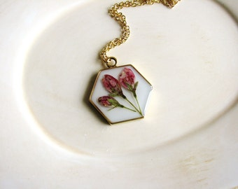 Hexagonal Flower Pendant Necklace, Geometry Necklace, Flower Necklace, Pink Flowers Necklace, Pressed Flower Necklace