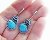 Turquoise earrings - blue Arizona turquoise - rustic silver dangles - handcrafted blue earrings - sterling silver - lightweight