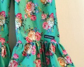 """Girls Ruffle Pants- Green with Vintage Pink and Cream Roses  - Made from Viola Lee Pattern """"Emma Lee"""""""