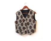 BTS SALE Vintage 60s SILHOUETTE Floral Tapestry Button Up Vest m l