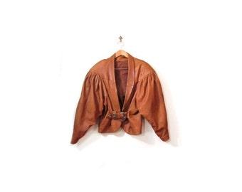 BTS SALE Vintage 80s Southwestern Caramelo Brown Leather Belt Waist Batwing Jacket women medium
